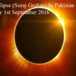 Solar Eclipse (Suraj Grahan) In Pakistan on Thursday 1st September 2016