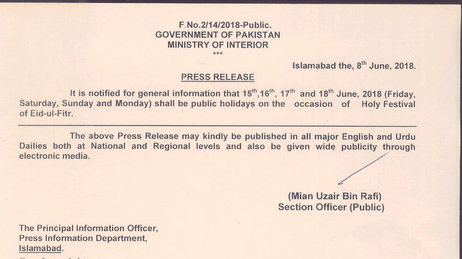Eid-ul-Fitr-2018-Holidays-Notification-Daytimes