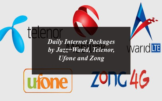 Daily Internet Packages by Jazz+Warid, Telenor, Ufone and Zong